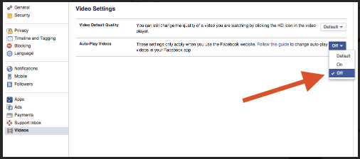 How to Turn Off Facebook Video Autoplay
