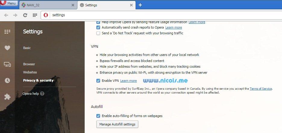 mengaktifkan fitur VPN pada browser opera