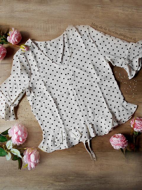 Dresslily Polka Dot Print Ruffle Hemline Crop Top