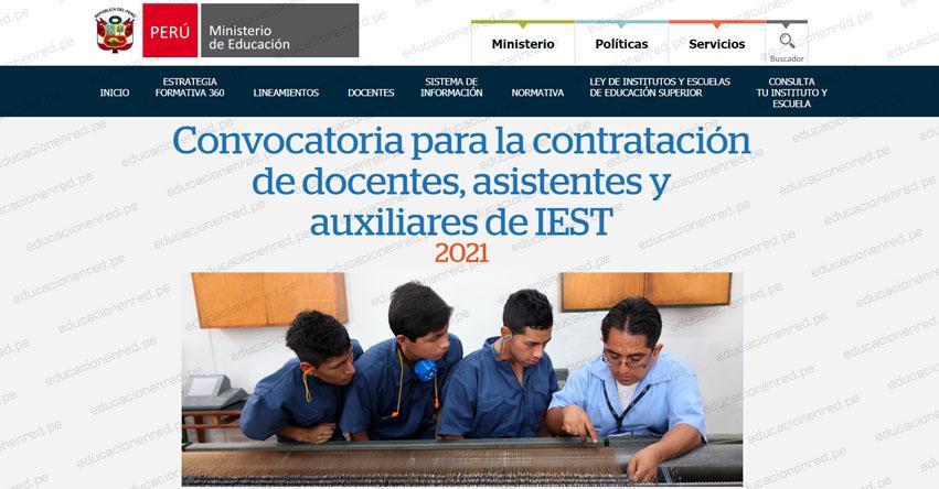 MINEDU: Convocatoria para la Contratación de Docentes, Asistentes y Auxiliares de IEST 2021