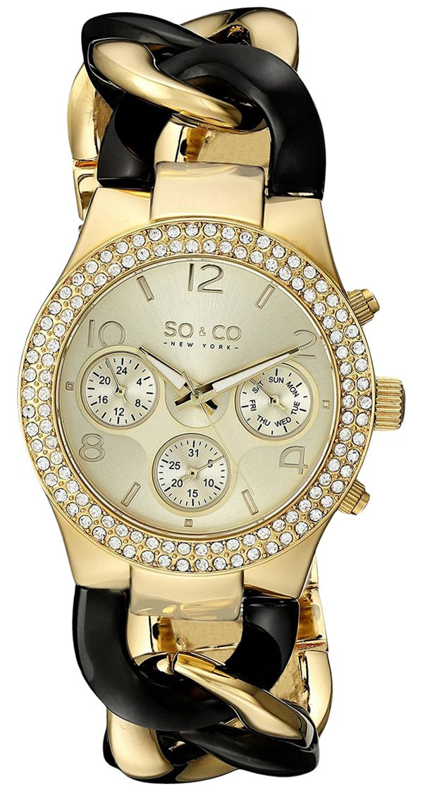 SO&CO New York Women Gold Dial Stainless Steel Band Watch - 5013A.4