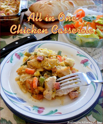 All in One Chicken Casserole: chicken, ham and vegetables on a bed of hash browns, smothered in sauce, and baked in one pan. | Recipe developed by www.BakingInATornado.com | #recipe #dinner