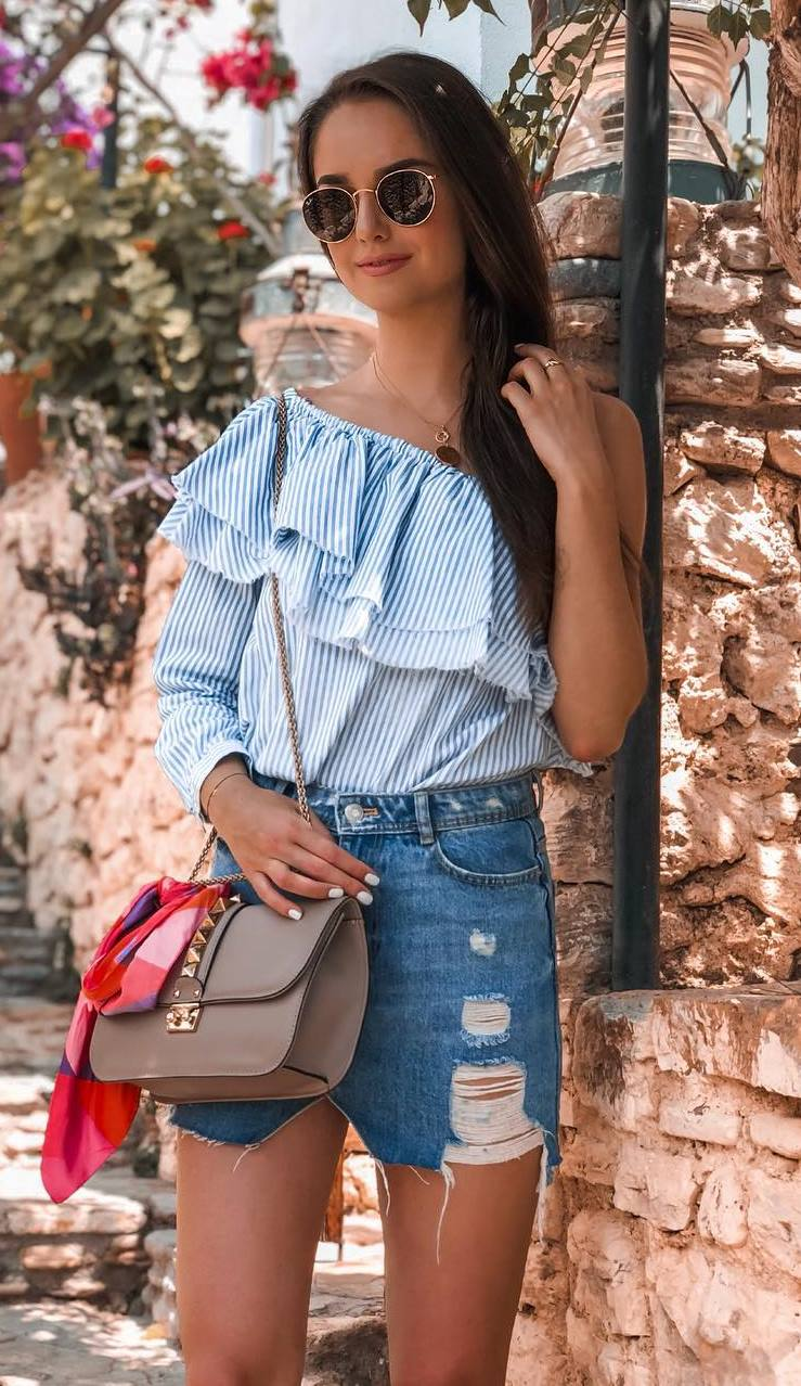 summer outfit / ruffle one shoulder top + bag + denim skirt