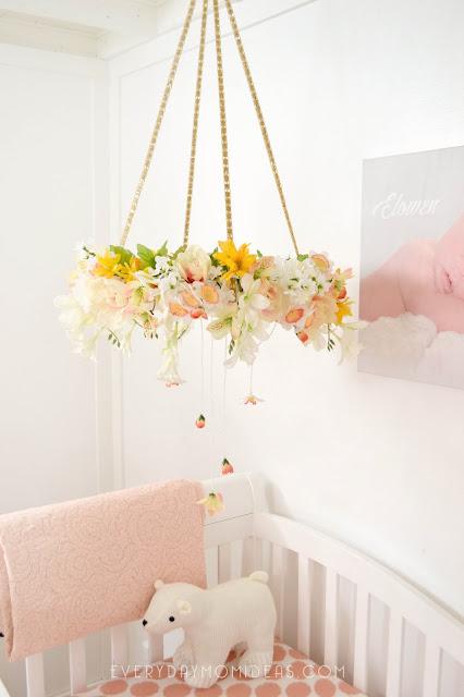 diy floral baby mobil chandelier full tutorial. Black Bedroom Furniture Sets. Home Design Ideas
