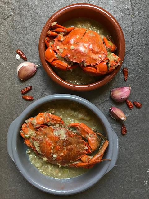 nécoras o cangrejos al ajillo receta