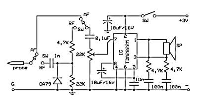 Wiring diagram for 3 way switch: RF AF signal detector