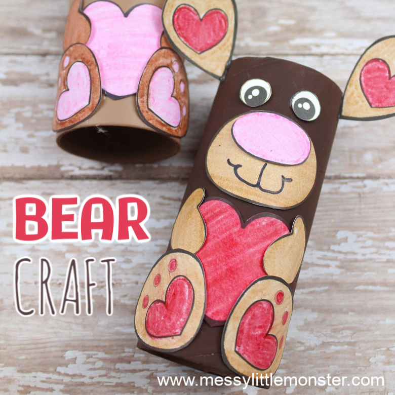 Cardboard Tube Bear Craft for Preschoolers (with template)