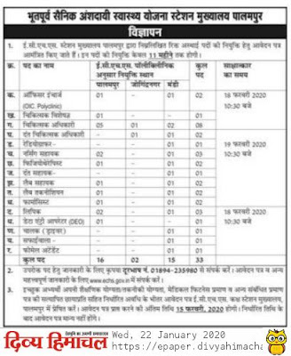 ECHS Palampur(H.P) Recruitment for the various posts 2020