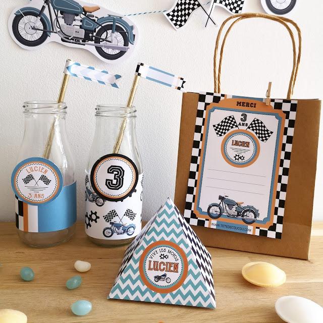 Kit anniversaire personnalisé thème moto garçon à imprimer tête de coucou boite bonbons cartes remerciement cupcakes toppers