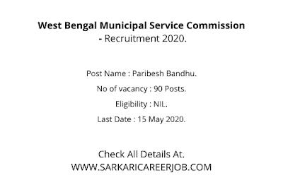 West Bengal Municipal Service Commission Recruitment 2020 Apply Online | 90 Post Latest Govt Vacancy.