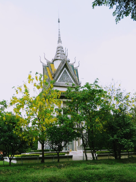Memorial Stupa at the Choeung Ek Killing Fields outside Phnom Penh Cambodia