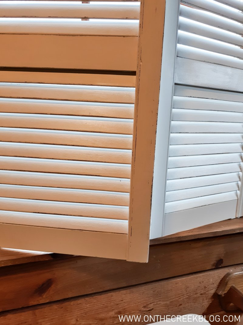 DIY inside shutters in the bathroom | On The Creek Blog