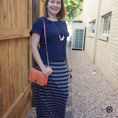 awayfromblue instagram | navy frill sleeve tee striped maxi skirt peach love bag park birthday party mum outfit