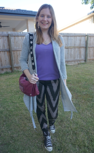 Sass Bide printed skinny jeans with grey cardigan lilac tee and magenta marc by marc jacobs bag   awayfromblue
