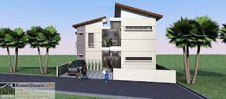 Tampak Depan Desain Rumah kost minimalis modern 2 lantai