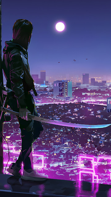 Sci Fi Ninja Cidade Cyberpunk