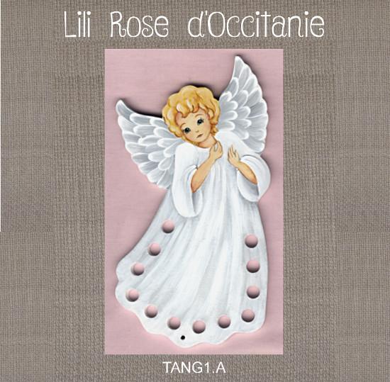 """Tri-fils bois peint """"Ange en robe blanche"""". Broderie et point de croix"""