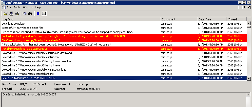 System Center Configuration Manager Blog: CcmSetup failed