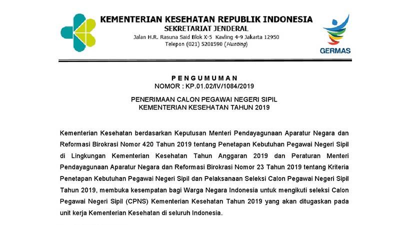Penerimaan CPNS 2019 Kemenkes - Kementerian Kesehatan RI (2.205 Formasi)