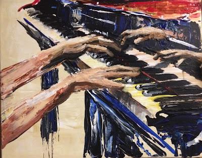 Karine Babel artiste en Périgord a peint les mains de Katia et Marielle Labeque pianistes.