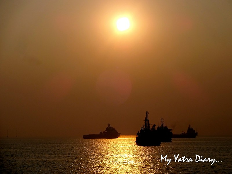 Boats in silhoutte during M2M Ro-Ro ferry Mumbai to  Alibagh port