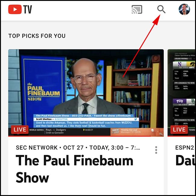 شاشة YouTube TV الرئيسية.  اضغط على أيقونة البحث.