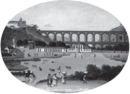 Vista da Lagoa do Boqueirão e do Aqueduto de Santa Teresa