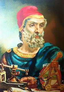 El magnífico Arquímedes, con la mirada perdida, pensando en Zeus sabe qué teorema...