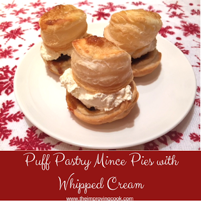 Pinnable image of puff pastry mince pies with whipped cream
