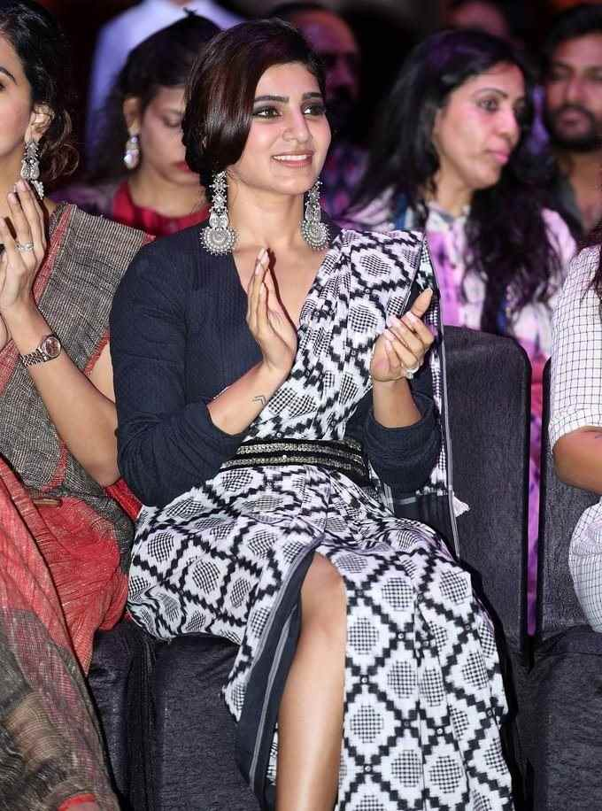 Samantha In Black Saree At Woven 2017 Fashion Show