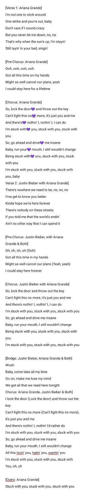 justin bieber stuck with u English song with lyrics