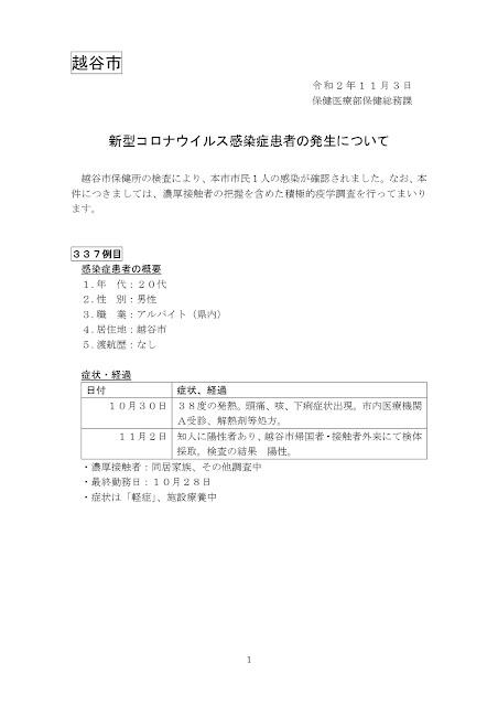 新型コロナウイルス感染症患者の発生について(11月3日発表)