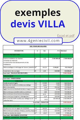 EXEMPLE MODELE DEVIS VILLA alger