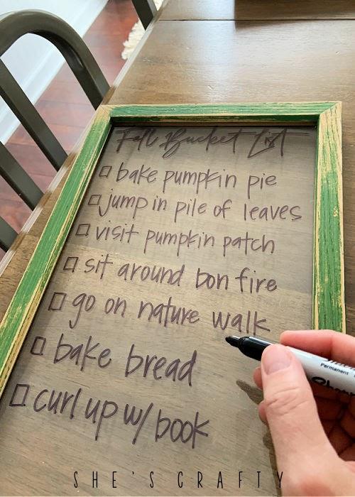 Fall bucket list dry erase frame