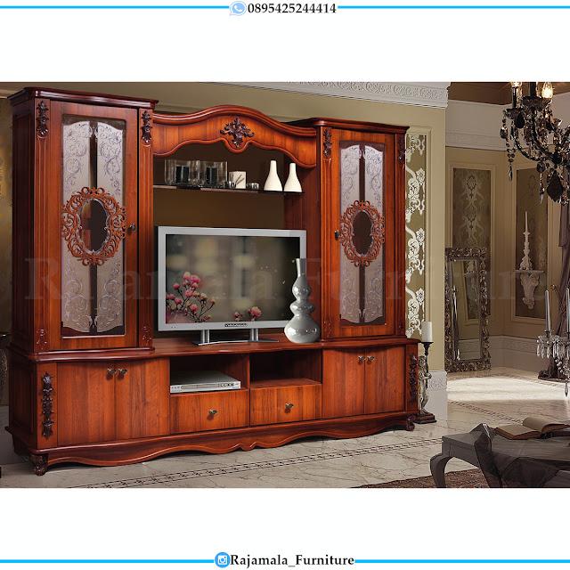 Meja TV Mewah Jati Classic Natural Luxury Furniture Jepara RM-0390