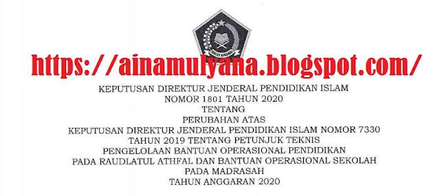 Perubahan Juknis BOP RA tahun 2020 dan Perubahan Juknis BOS Madrasah Tahun 2020