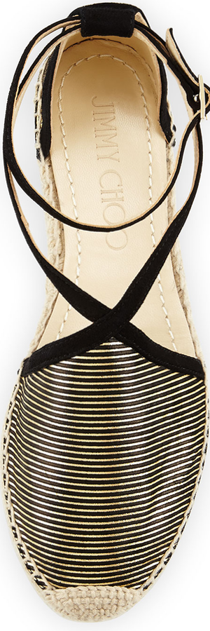 Jimmy Choo Donna Metallic Striped Espadrille