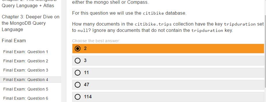 M001 MongoDB Basics Q&A (Quiz, Labs & Final Exam)