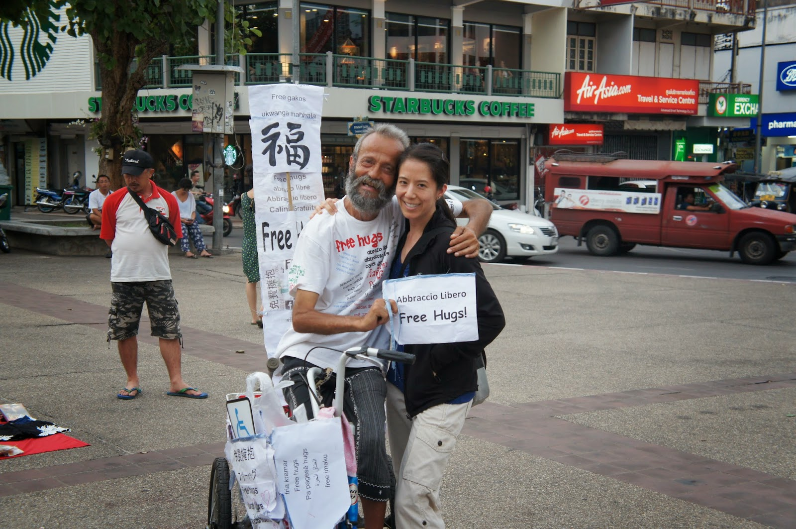 Chiang Mai - I saw a guy giving out free hugs so I had to get one. I love free hugs!