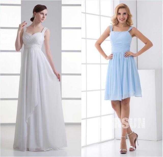 robe de mariée simple et robe demoiselle d'honneur bleu pale simple