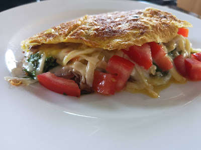 Kale and bacon omelette.