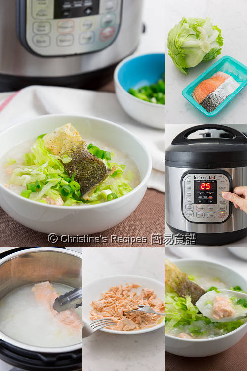 Crispy Salmon Lettuce Congee Procedures