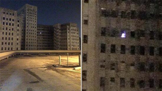 Misteriosas luzes em janela de hospital abandonado