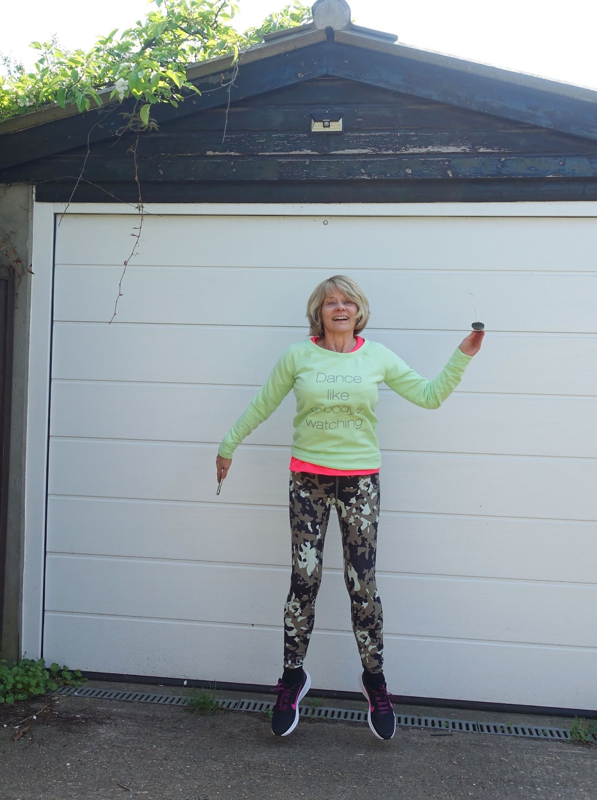 Jumping for joy - Is This Mutton style blogger Gail Hanlon in leggings and sweatshirt from Yoga Leggs