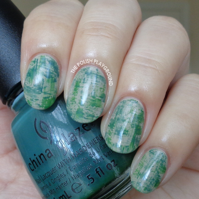 Matte Green and Teal Dry Brush Nail Art