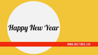 Dark yellow Background white Big Circle black fonts Happy New Year l