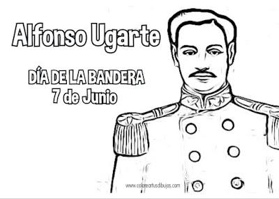 Colorear dibujo de Alfonso Ugarte di de la Bandera de Perú