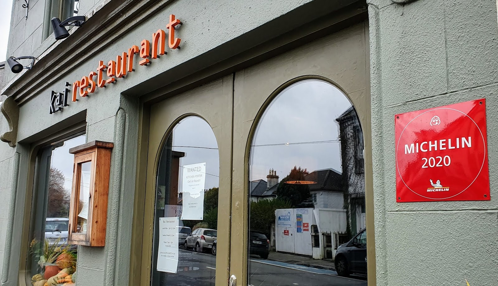 Galway restaurant front door, with Michellin 2020 award prominently displayed