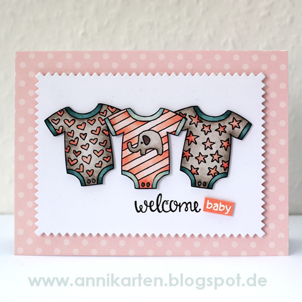 Fan Feature Week | Baby card by Annikarten using Loveable Laundry stamps by Newton's Nook Designs #newtonsnook
