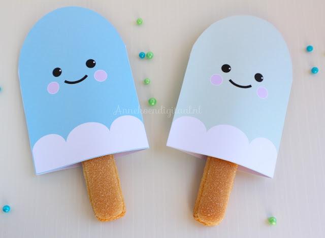 ijsjes traktatie, kawaii ijsjes, bento ijsjes, traktatie ijsjes, ijsjes om te trakteren, gratis traktatie bouwplaat, free printable kawaii
